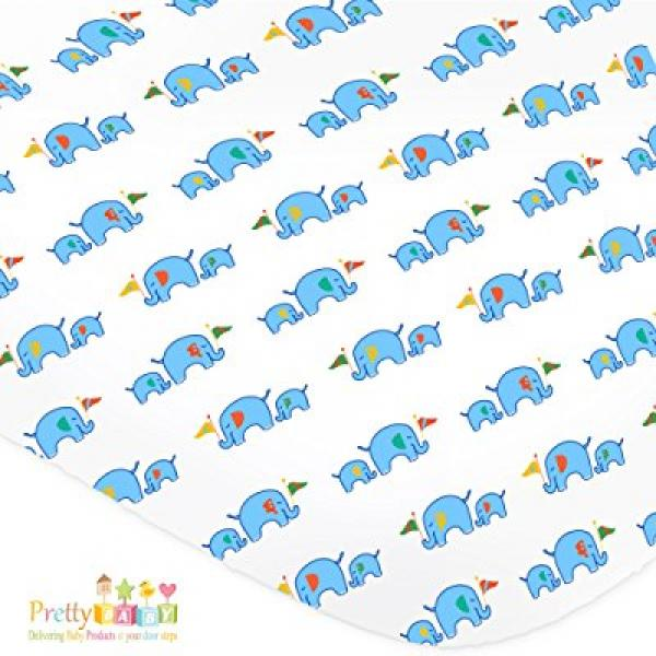 1 Soft & Cozy Fitted Muslin Cotton Baby Crib Sheet. Cute Blue Prints For Boys, Infants, Toddlers Christmas, Baby Shower Gifts. Premium Machine Washable & Dryer Friendly Sheets.