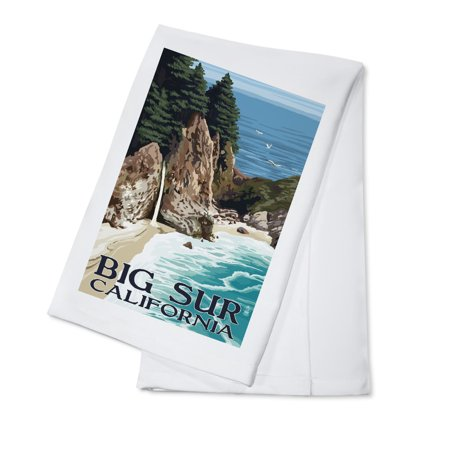 California Bib (Big Sur, California - McWay Falls - Lantern Press Artwork (100% Cotton Kitchen)