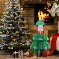 product image costway 5 ft airblown inflatable santa claus in christmas tree decor lawn yard outdoor - Outdoor Christmas Tree Decorations