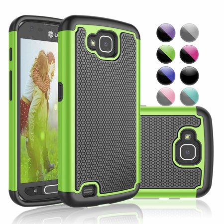 LG X Venture Case, LG X Calibur Case, LG LV9 / LV9N Cover, Njjex Shock Absorbing [Green] Rugged Rubber Double Layer Plastic Scratch Resistant Hard Case Cover for LG X Venture H700 ()