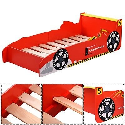 Kids Race Car Bed Toddler Bed Boys Child Furniture Bedroom Red Wooden by Apontus