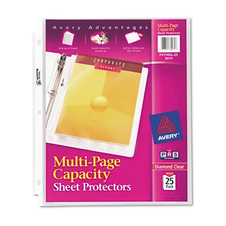 averyr diamond clear multi page capacity sheet protectors 25pack