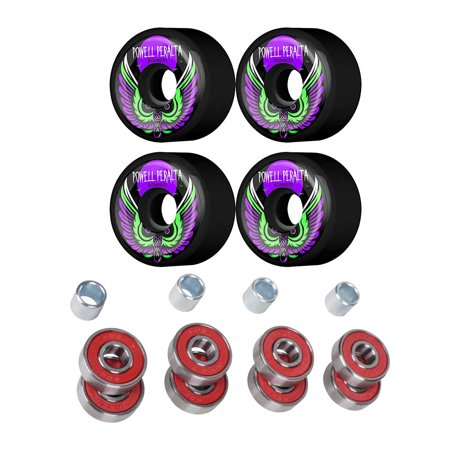 Powell Peralta 60mm Bomber 85A Skateboard Wheels Black With Bearings