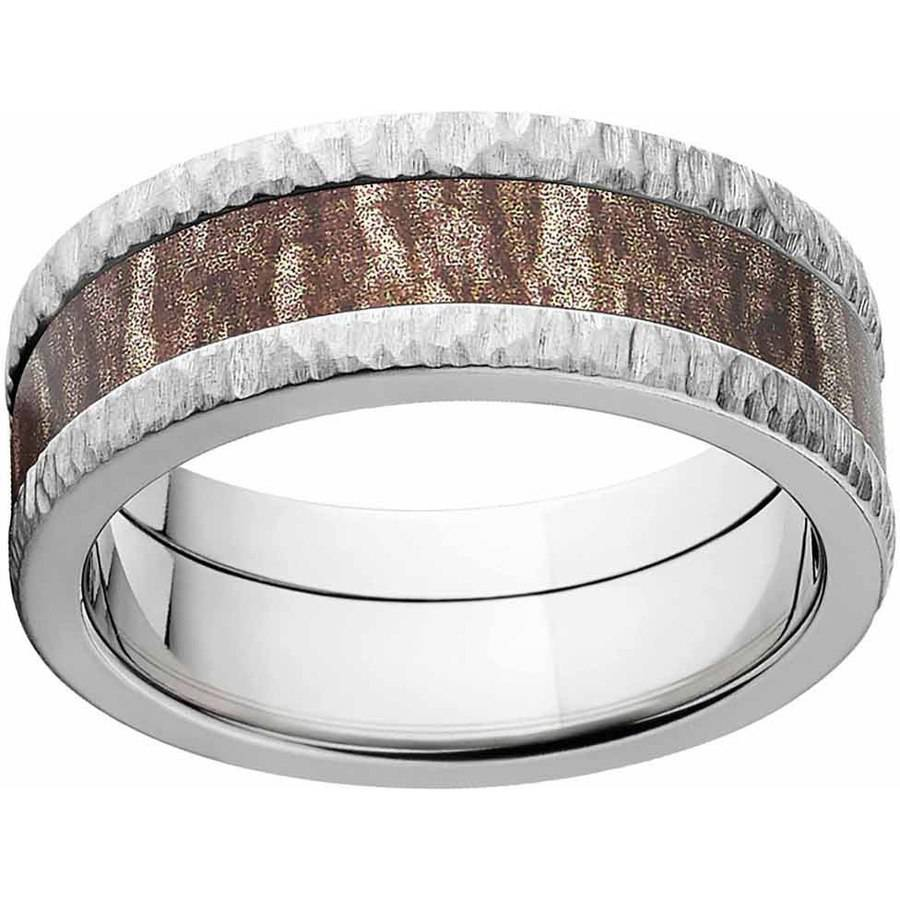 Mossy Oak Bottomland Men's Camo Stainless Steel Ring with Tree Barked Edges and Deluxe Comfort Fit