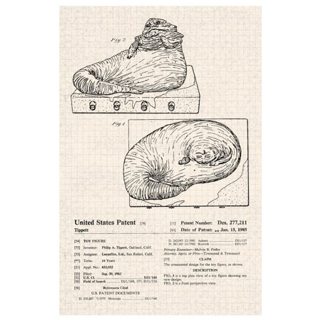 Jabba The Hutt Star Wars Movie Toy Official Patent Diagram Poster