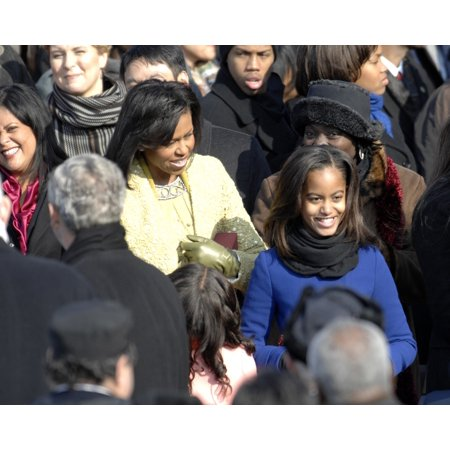 Michelle Obama And Daughters Malia And Sasha Arrive At The US Capitol For President ObamaS Inauguration Washington DC Jan 20 2009 Michelle Wears A Lemongrass Suit By Isabel Toledo