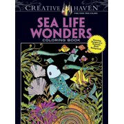Creative Haven Coloring Books: Creative Haven Sea Life Wonders Coloring Book: Amazing Designs on a Dramatic Black Background (Paperback)