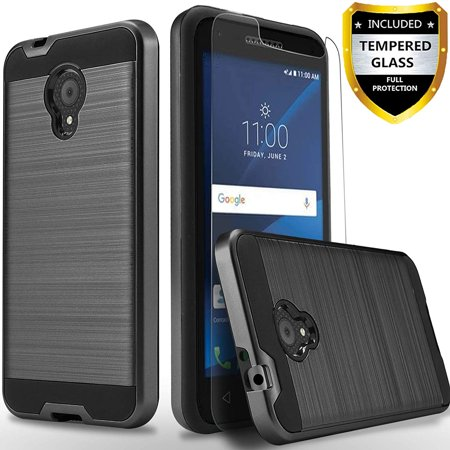 Alcatel TCL LX A502DL Phone  Case, 2-Piece Style Hybrid Shockproof Hard Case Cover with [ Tempered Glass Screen Protector] And Circlemalls Stylus Pen