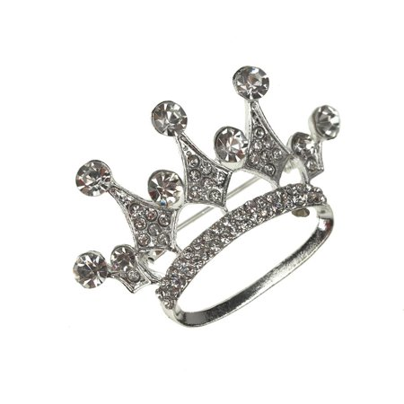 Rhinestone King Crown Brooch Pin, Silver, 1-3/4-Inch