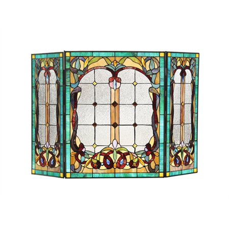 CHLOE Lighting LUCIAN, Tiffany-style 3pcs Folding Victorian Fireplace Screen 44x28
