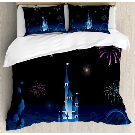 Magic Duvet Cover Set, Simplistic Amusement Park Silhouette Kids Magic Castle Cartoon, Decorative Bedding Set with Pillow Shams, Night Blue Persian Blue and Pink, by Ambesonne