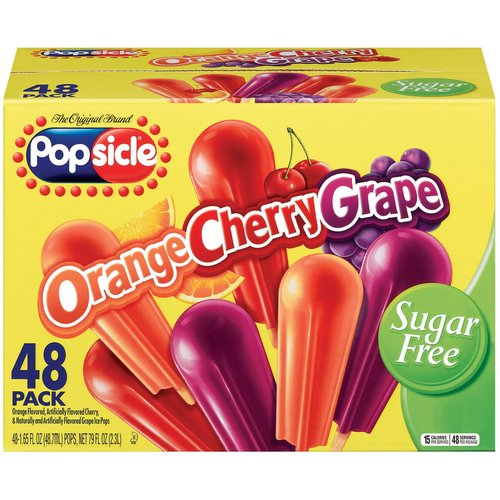Popsicle Orange Cherry & Grape Sugar Free Ice Pops, 1.65 oz, 48 ct