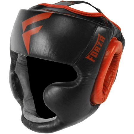 Full Face Leather - Forza Sports Leather Full Face Boxing and MMA Headgear - Black/Red