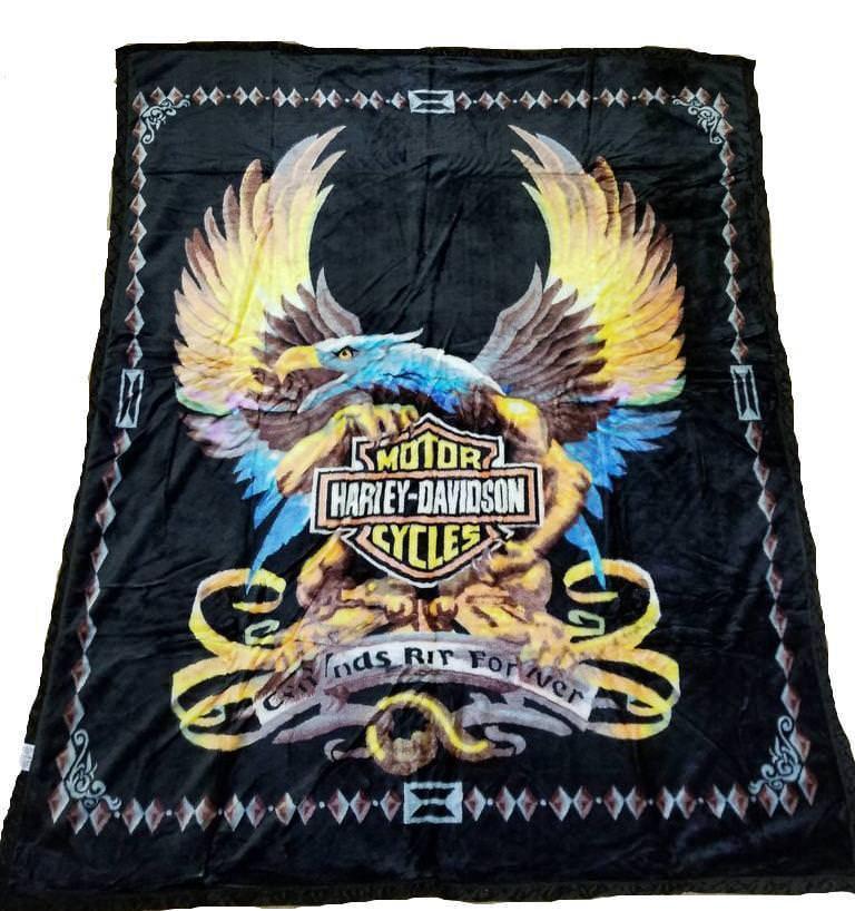 Harley Davidson Flaming Eagle Blanket