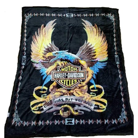 Harley Davidson Flaming Eagle Blanket NEW Mink Queen Size Double Side Plush Reversible Orange / (New Sheared Mink)