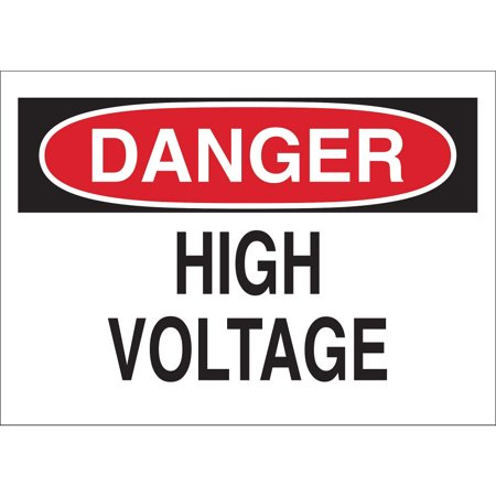 BRADY Danger Sign, 7 x 10In, R and BK/WHT, HV, ENG 84876