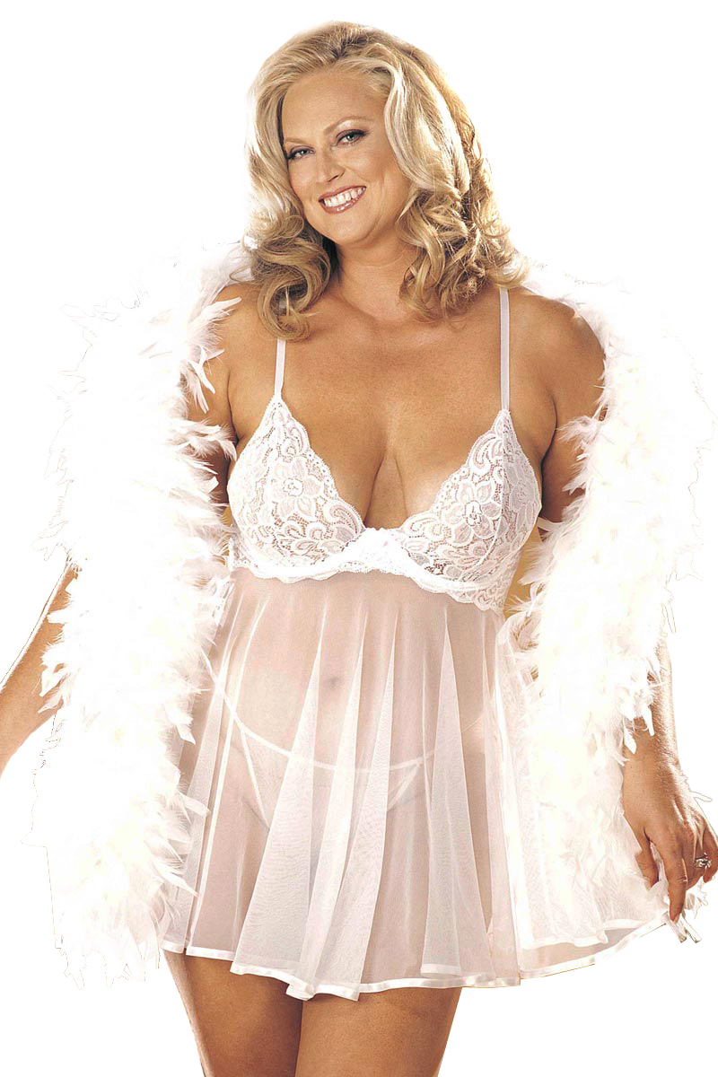 Plus Size Curvy Sexy Lace and Sheer Net Babydoll Lingerie ...