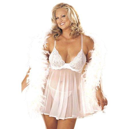 d16d00e86ba Plus Size Curvy Sexy Lace and Sheer Net Babydoll Lingerie - Walmart.com