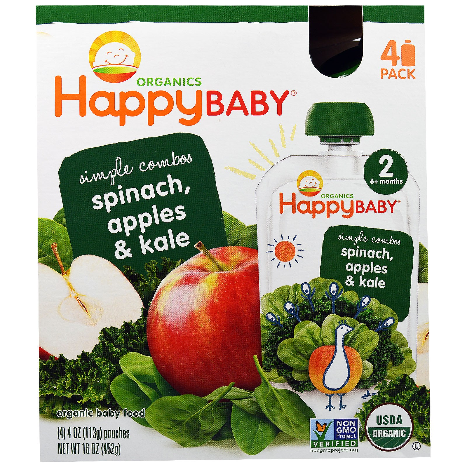 Nurture Inc. (Happy Baby), Organic Baby Food, Stage 2, Simple Combos, Spinach, Apples & Kale, 4 Pouches, 4 oz (113 g) Each(pack of 6)