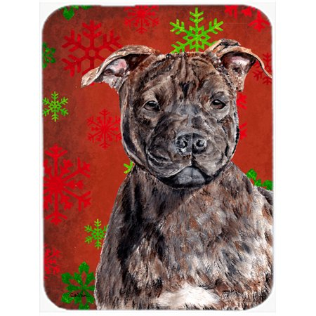 Staffordshire Bull Terrier Staffie Red Snowflakes Holiday Mouse Pad, Hot Pad or Trivet SC9753MP