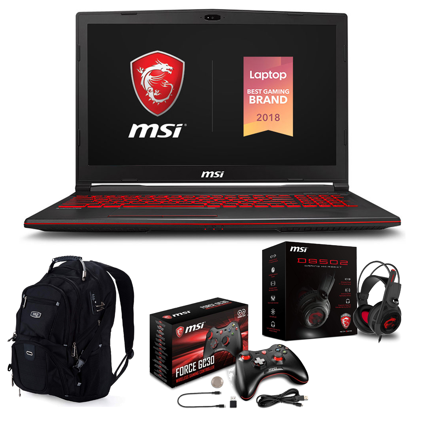 "MSI GL73 8SE-010 17.3"" Gaming Laptop (Intel 8th Gen i7-8750H 6-Core, 16GB RAM, 1TB HDD + 128GB PCIe SSD, 17.3"" Full HD 120Hz 3ms, NVIDIA RTX 2060 6GB, Win 10 Home) With Gaming Bundle"