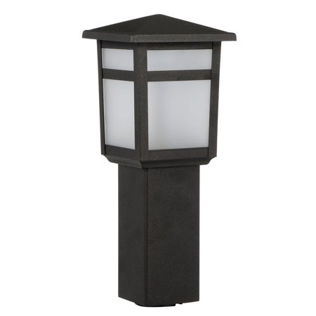 (4-Pack) Low-Voltage 10-Watt Equivalent Black Outdoor Integrated LED Square Bollard Landscape Path Light with Frosted (Hampton Bay Low Voltage Led Landscape Lighting)