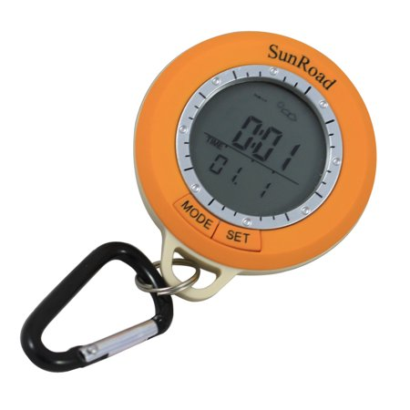 Sunroad SR108S Mini LCD Backlight Digital Pedometer Altimeter Compass Thermometer Weather Forecast Time Date Outdoor Hiking Computer Waterproof Multi-function with Carabiner