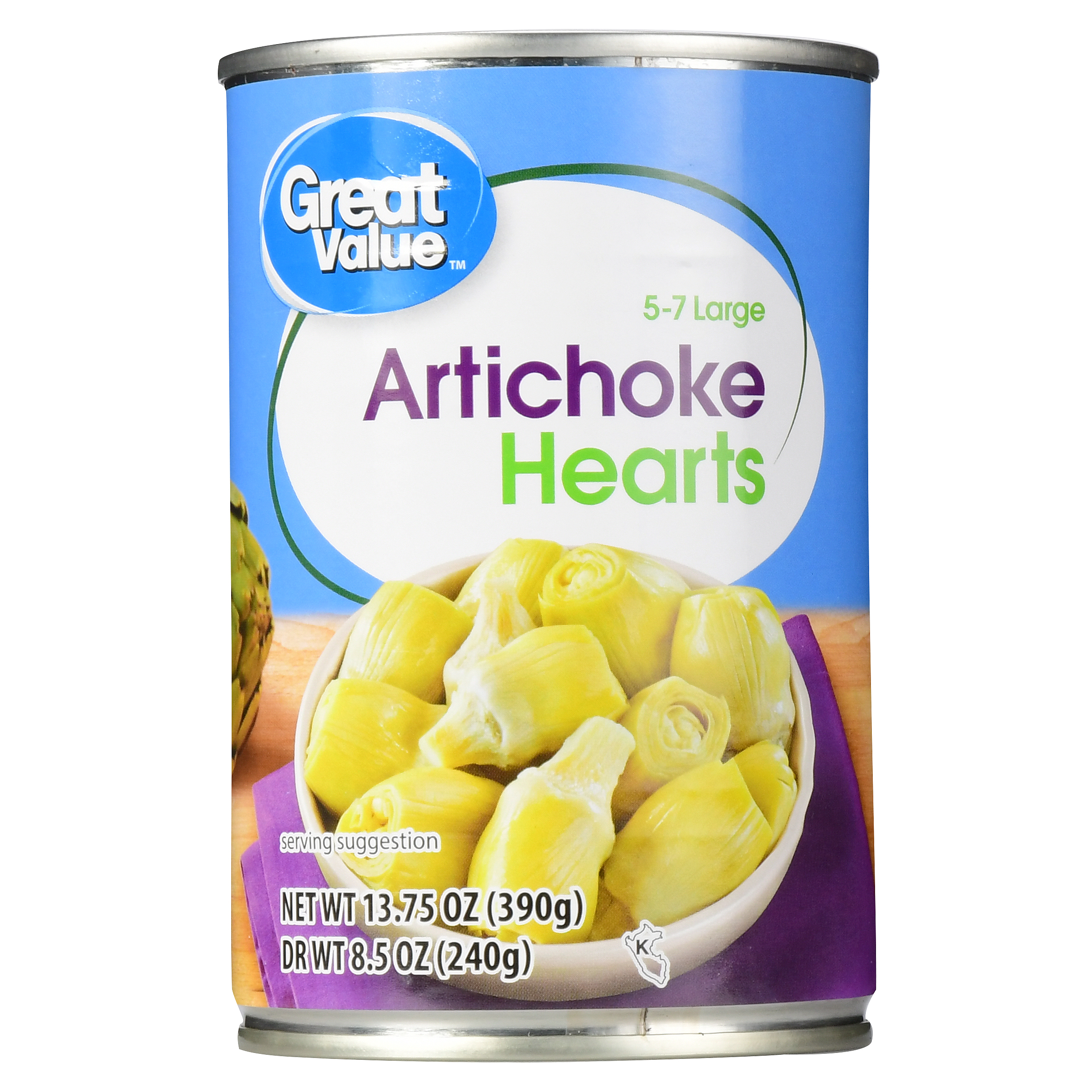 (3 Pack) Great Value Artichoke Hearts, 5-7 Large, 13.75 oz