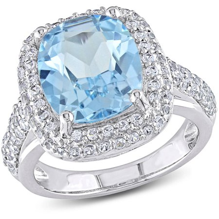 7-1/4 Carat T.G.W. Cushion-Cut Blue Topaz and Created White Sapphire Sterling Silver Cocktail Ring ()