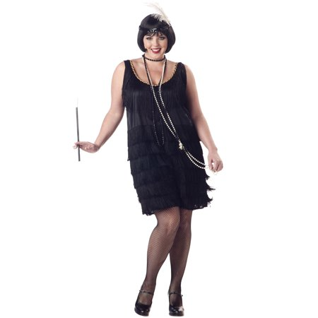 Great Gatsby 1920's Fashion Flapper Sexy Women Plus Size Halloween Costume 1X-3X](Women Flapper Costume)