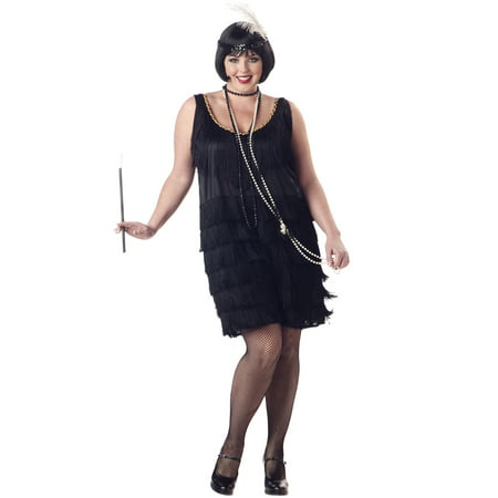 Great Gatsby 1920's Fashion Flapper Sexy Women Plus Size Halloween Costume 1X-3X (Halloween Costumes Women Black Dress)