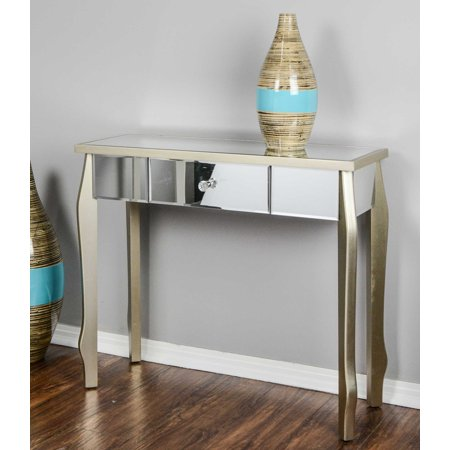 Homeroots Kitchen 1 Drawer Mirrored Console Table Mdf Wood Gl