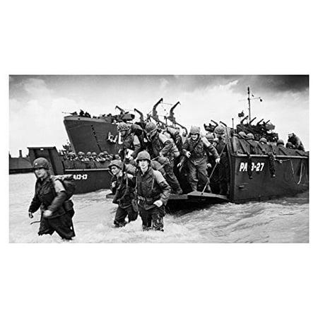 World War 2 Marine Soldiers Beach Landing Poster 24X36 Black & White War Photo (Best Beaches In The World Photos)