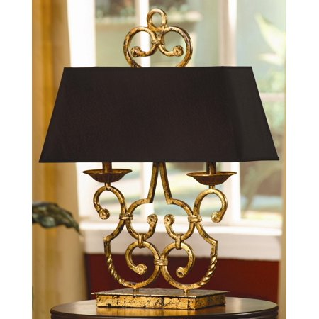 Charleston 27-Inch Twin Light Table Lamp, Gold Leaf and Antique Black