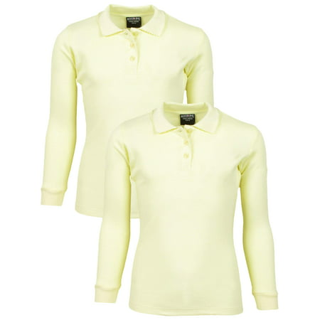 - Girls' School Uniform 2 Pack Long Sleeve Cotton Interlock Polo