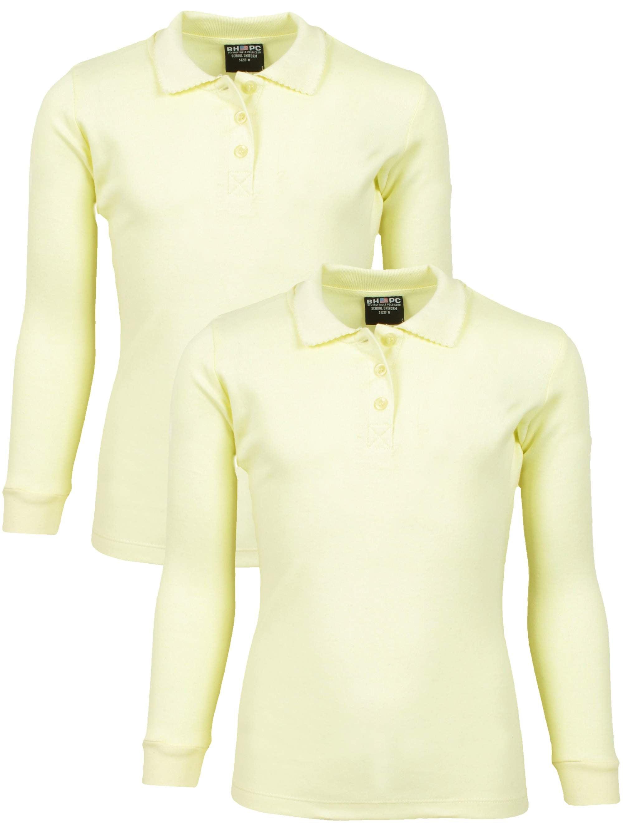 Girls' School Uniform 2 Pack Long Sleeve Cotton Interlock Polo