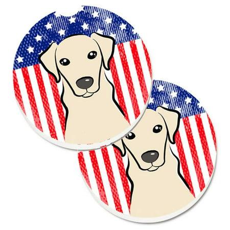 American Flag & Yellow Labrador Set of 2 Cup Holder Car Coaster