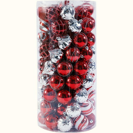 Holiday Time 101 Shatterproof Ornaments, Red/White/Silver, Timeless Design