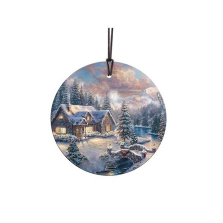 - Trend Setters Thomas Kinkade Art High Country Christmas StarFire Prints Glass Shaped Ornament