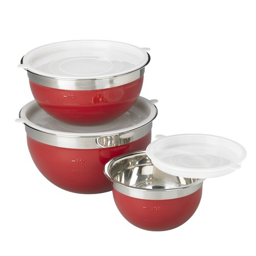 Mainstays 6pc Stainless Steel Mixing Bowl Set, Red