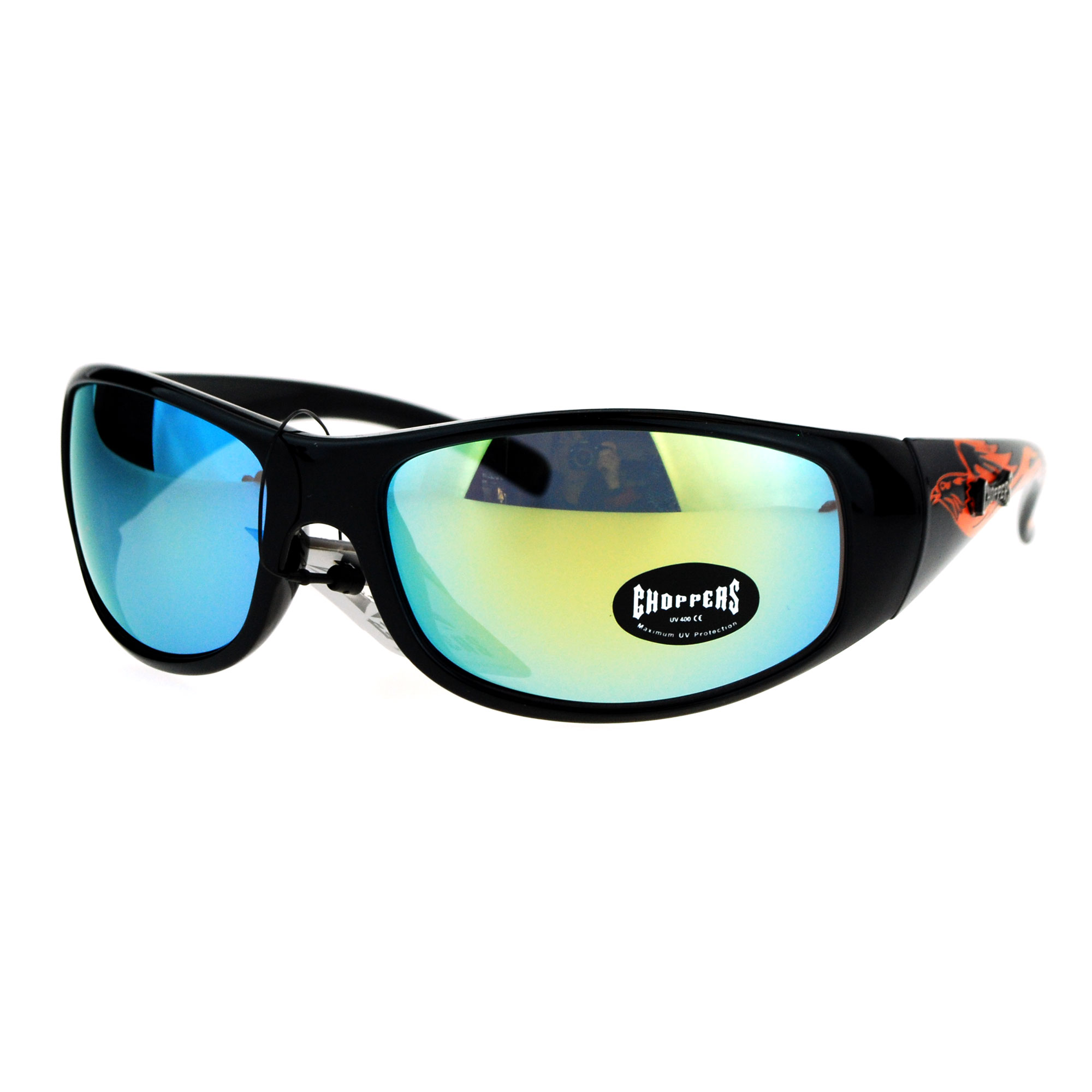 Choppers Flaming Eagle Warp Around Biker Motorcycle Sunglasses Black Blue