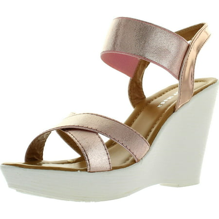 Top Moda Womens Cp-50 Strappy Open Toe Slingback Platform High Wedge Heel Sandals