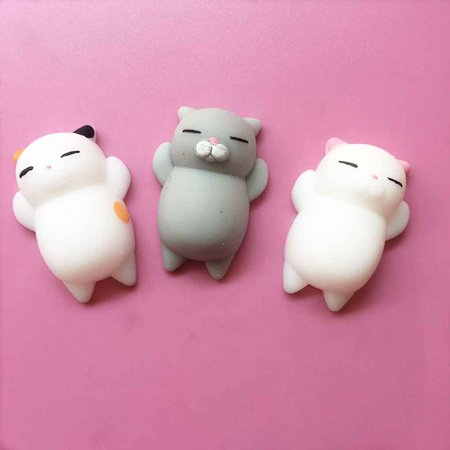 4pcs Mini Mochi Squishy Cat Squeeze Toy Animal Stress Reliever Toys Slow Rising Healing Toy - image 4 of 8