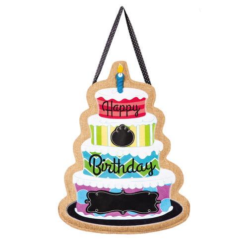 Evergreen Enterprises, Inc Happy Birthday Polyester 1'9 x 1'4 ft Door Hanger