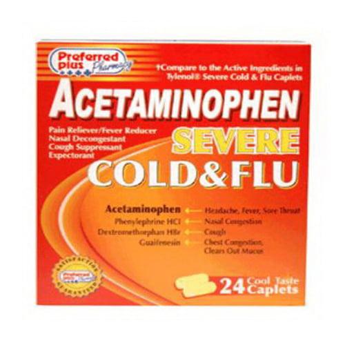 Preferred Plus Acetaminophen Severe Cold And Flu Caplets - 24 Ea