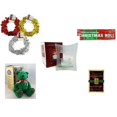 Christmas Fun Gift Bundle [5 Piece] - Brite Star Red, Silver, Gold Foil Garland 2.5