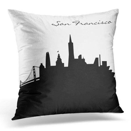 BOSDECO California Black and White San Francisco Usa Pillowcase Cushion Cover 20x20 inches - image 1 of 1