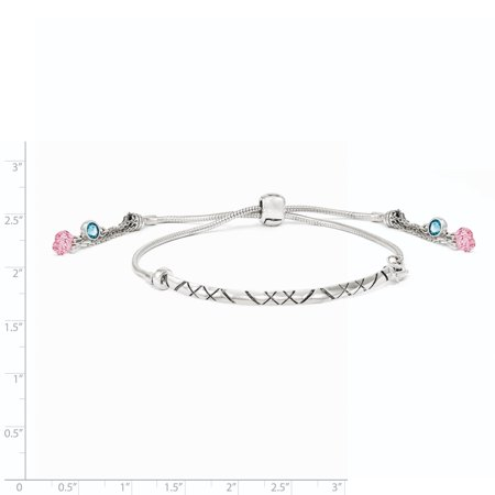 Sterling Silver Swarovski Crystal Briolette Adjustable Bracelet (Weight: 9.5 Grams, Length: Inches) - image 1 de 2