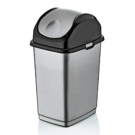 superio swing top trash can 19 qt grey and black. Black Bedroom Furniture Sets. Home Design Ideas