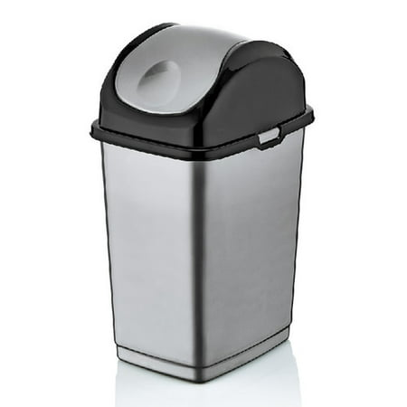 Superio Swing-Top Trash Can ,19 Qt (Grey and Black) - image 1 of 1